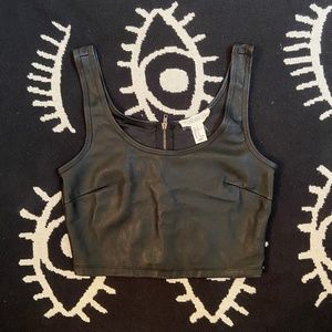Black Vegan Leather Crop Top